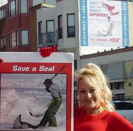 SuperSealWoman in San Francisco with Harpseals.org Wall Mural