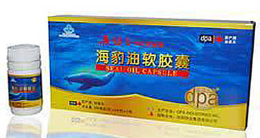 Harp seal oil capsules with Chinese label