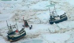 Sealing boats stuck in ice